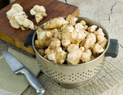 Iš žieminių bulvių (topinambų) derliaus